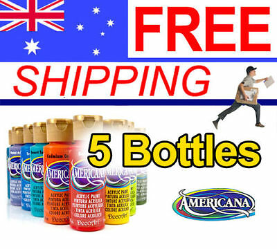 Americana Acrylic Paint - 59ml - 5 Bottles - FREE POST - Many Colours available