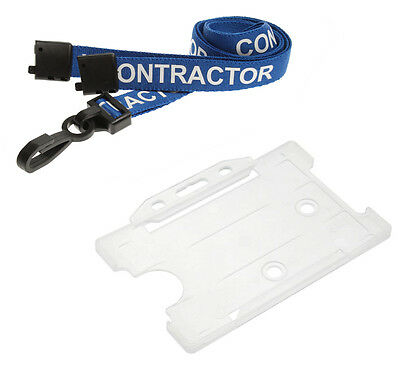 CONTRACTOR lanyard 15mm printed with Landscape Opaque ID card holder - FREE P&P
