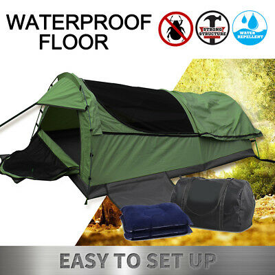 Double Canvas Swag Camping Tent Swags Deluxe Aluminum Poles Pillow Bag Celadon