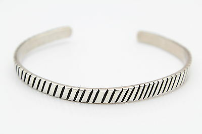 Artisan Handcrafted Open Cuff Bracelet with Ridges in Sterling Silver