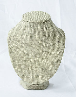 """Burlap Covered Necklace Display 9"""" Jewelry Bust Stand"""