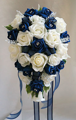 BRIDES TEARDROP BOUQUET , French Navy/white 31cm long