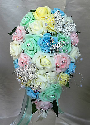 BRIDES TEARDROP BOUQUET , pastel/rainbow colours with diamante & butterflies