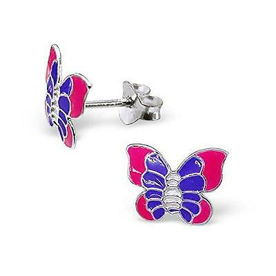 Childrens Girls Sterling Silver Purple/Pink Butterfly Stud Earrings - Gift Boxed