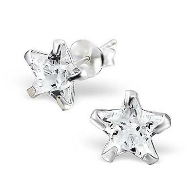 Womans Sterling Silver STAR Stud Earrings - Gift Boxed - NEW