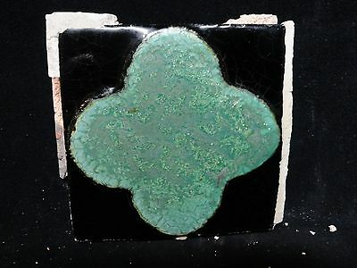 VERY RARE * Grueby Pottery Tile * TURQUOISE GEOMETRIC ** (SAVE U FRAME)