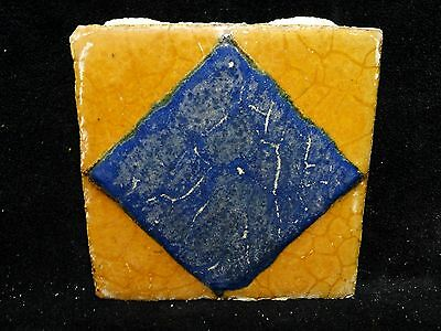 VERY RARE * Grueby Pottery Tile * DIAMOND GEOMETRIC ** (SAVE U FRAME)