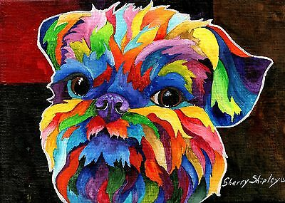Brussels Griffon 8x10 Acrylic DOG Print by Sherry Shipley