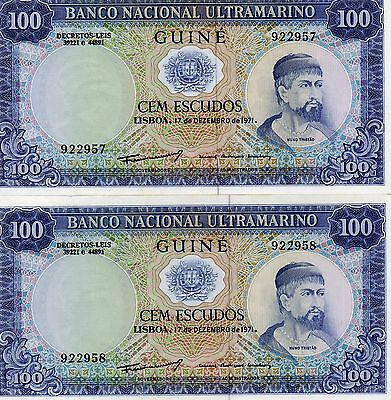 Portuguese GUINEA Africa 100 Escudos two notes in sequence UNC 1971 p-45