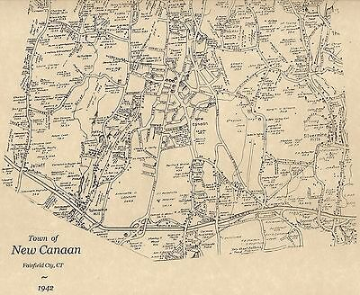New Canaan Pinneys Corners Silvermine CT 1942  Map with Homeowners Names Shown