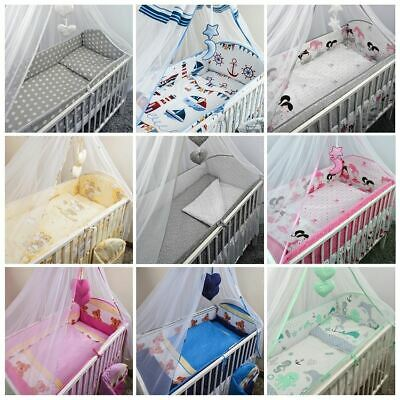 3 Piece Nursery Cot Baby Bedding Set with Long All Round Padded Cot Bed Bumper