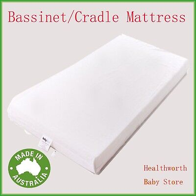 NEW BABYREST AM7 BOORI BASSINET MATTRESS 800x410x50MM WHITE Removable cover