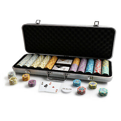500 Chips Poker Game Set Aluminium Case Aussie Currency 14g Chips Plastic Cards
