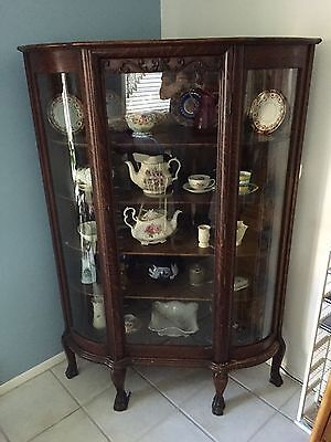 Very Rare Antique Corner China Cabinet- Claw Foot, Bow Glass-