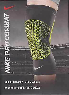 """Nike Pro Combat Knee Sleeve M 15-17"""" black and green color"""