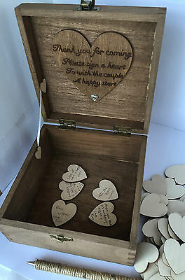 Personalised Wooden Wedding Guest Book Box 100 Wood Hearts 16cm Keepsake Party