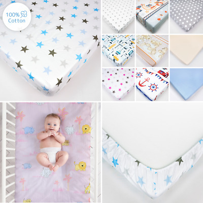 Nursery Baby Cotton Fitted Sheet for Crib or Cot Bed in Matching Design