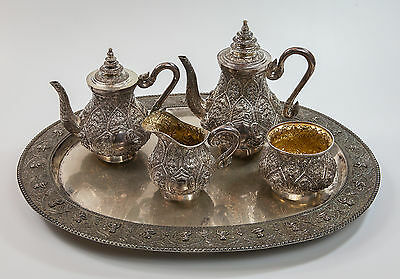 5 Piece Tea-Coffee Sterling Silver Service Set, Indian Hand Repousse, 4436 Grams