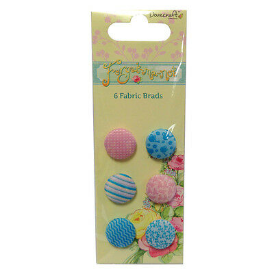 Dovecraft Forget Me Not Fabric Brads - Cardmaking, Scrapbooking