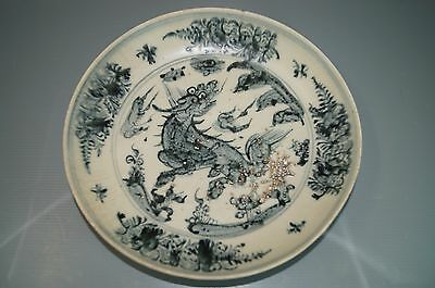 Rare Ming dynasty 15th century blue and white large plate B-74