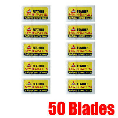 50 Feather Razor Blades Yellow Pack HI-STAINLESS Double Edge Platinum Coated