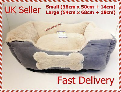Large Size Soft Washable Dog Pet Warm Basket Bed Cushion - Fleece Lining - Grey