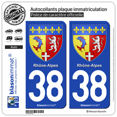 2 Stickers autocollant plaque immatriculation auto : 38 Rhône-Alpes - Armoiries
