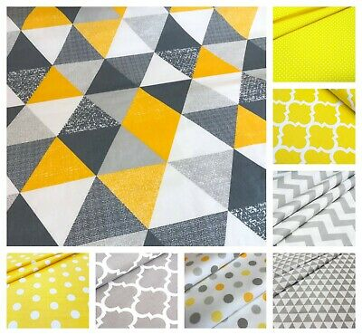 NEW GREY & YELLOW 100% COTTON FABRIC by the metre CHEVRON polka dot , elephant