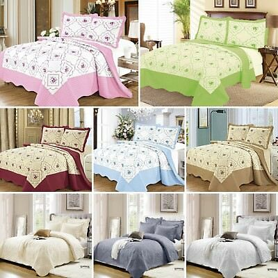 3 Piece Floral Embroidered Quilted Poly Cotton Bedspread Throw + 2 Pillow Shams