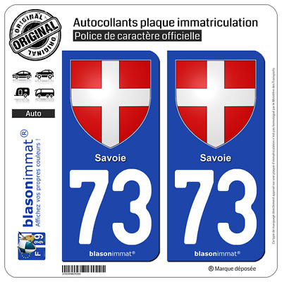 2 Stickers autocollant plaque immatriculation auto : 73 Savoie - Armoiries