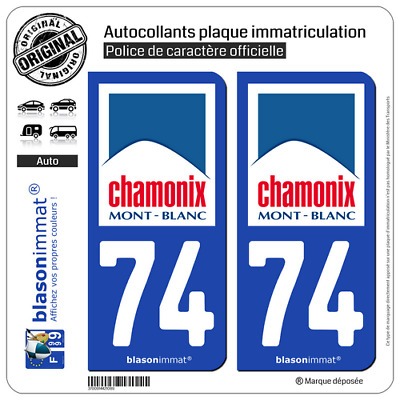2 Autocollants plaque immatriculation auto : 74 Chamonix-Mont-Blanc - Commune