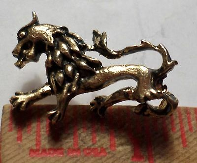Unusual gold Dragon pin vintage old collectible mythological creature pinback