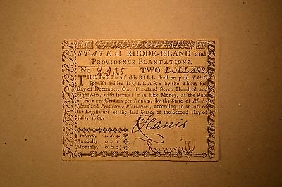 Rhode Island July 2, 1780 $2 Extremely Fine-About New.
