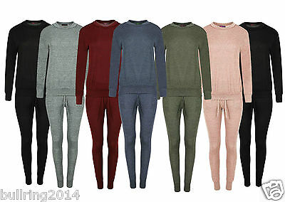 New Womens Ladies Loungewear Set Sweatshirt Joggers Fine Knit Tracksuit Pants