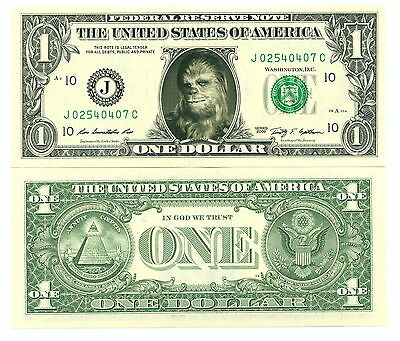 STAR WARS / CHEWBACCA VRAI BILLET de 1 DOLLAR US ! Peter Mayhew Wookie Collector