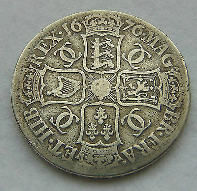 1676 Charles II Crown V octavio, good edge (144)