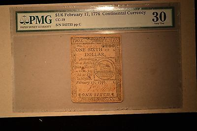 Continental Currency February 17, 1776 $1/6 PMG Very Fine 30.