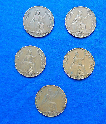 5 British George VI pennies,1937 to 1952. All different dates