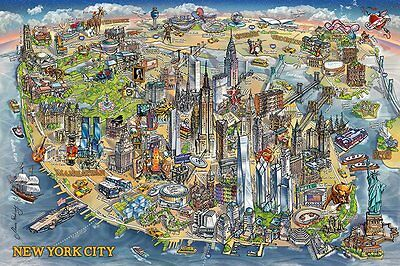 New York Map Maria Rabinky 91.5 X 61Cm  Poster New Official Merchandise