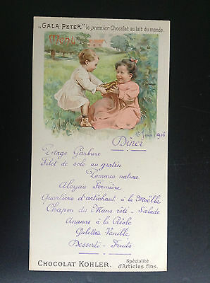 Ancien menu Gala Peter Kholer 1906 Chocolat