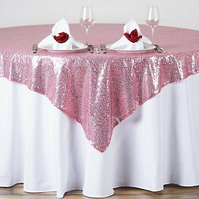 """12 pack Sequins Table Overlay 54""""X 54"""" Sparkly Tablecloth Wedding Cake USA SALE"""