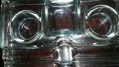 Vintage solid glass pen and double ink well holder