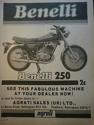 "BENELLI 250 2C TWIN # ORIGINAL VINTAGE MOTORCYCLE ADVERT # 10""x 8"""