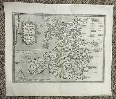 Antique Map Cambriae Typus Auctore Humfredo Lhuydo By Abraham Ortelius C. 1603