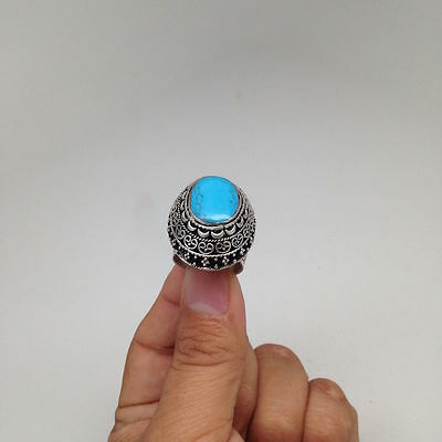Afghan Turkmen Tribal Kuchi Handmade Oval Blue Turquoise Inlay Ring,Size:8, R72