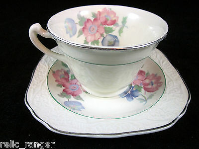 Edwin M. Knowles Cup and Saucer Set -Pink & Blue Floral Several Sets  Available