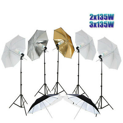 Photography Studio Flash Umbrella Continuous Bulb Light Video Lighting Stand Kit