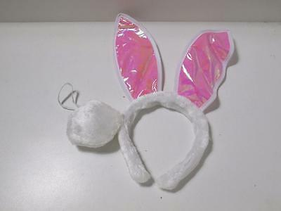 2pce adults kids girls EASTER BUNNY RABBIT EARS HEADBAND & TAIL costume hat pink