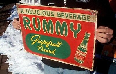 Vintage Rare Rummy Grapefruit Soda Pop Metal Embossed Sign W/ Bottle Graphic