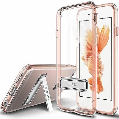 iPhone 6 6S 4.7 Clear / Rose Gold Hard Case [OBLIQ Naked Shield] Metal Kickstand